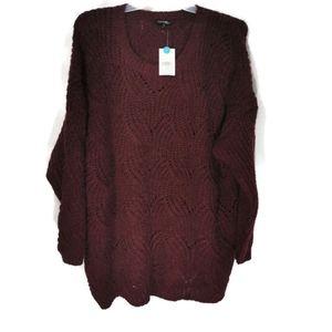 NWT Cozy Burgundy Knit Sweater 3X